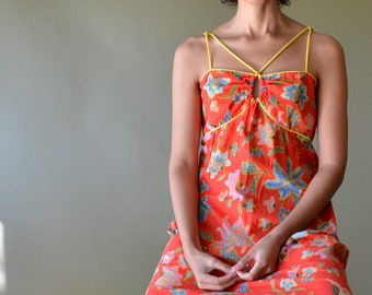 70s red orange cotton floral halter dress // size small