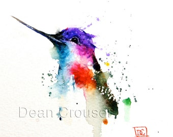 HUMMINGBIRD Watercolor Art Print, Hummingbird Painting by Dean Crouser