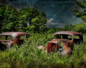 Vintage Car, Textured Photography, Nostalgia, Wall Art,Vintage Decor, Fine Art Prints,Rust, Brown, Green field, Stormy Art, Cars Photo