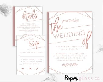 Geometric Rose Gold Wedding Invitation Template, Rose Gold Wedding, Modern Wedding Invitation,  Printable and Editable, Instant Download
