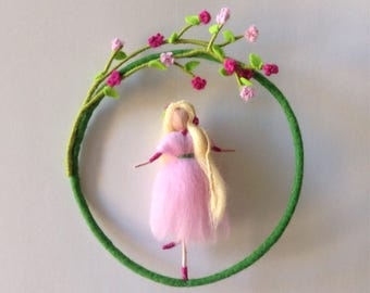 Needle felted Waldorf mobile, Fairy doll