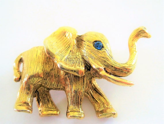 Hobe Elephant Brooch,  Rhinestone Eye,  Vintage Gold Tone 60's Collectible  Pin