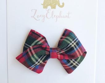 Christmas Plaid Bow, Holiday Bow, Baby Headband, Non Slip Clip, Nylon Headband, Girl Headband, Newborn Headband, Christmas Bows, Winter Bow