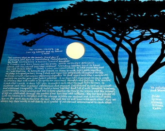 African Evening with Acacia Tree and Moon - hand lettering in white