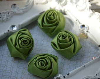 """1.5"""" Olive Green Satin Fabric Roses, Satin Rolled Rosettes, Satin Flowers, Rolled Roses, Rolled Satin Roses, Satin Flowers, Satin Roses"""