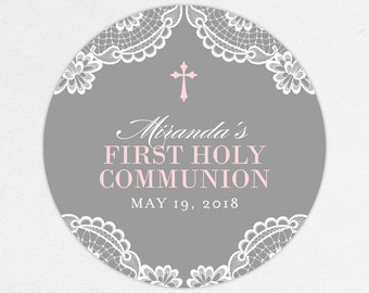Lace Communion Labels, First Communion Favor Labels, First Communion Stickers, Printed Communion Tag, Girl Communion Labels, Gray and Pink