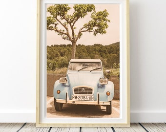 Citroen 2CV from Ibiza photo. Landscapes of Spain. Sun and light. Printable image for download. From Spain with Love