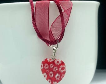 Red Glass Millefiori Heart Pendant on Deep Red Organza & Cord Necklace. Can be Customised.