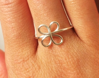 Clover Ring -Luck of the Irish Four Leaf Clover Ring -St. Patrick's Day -14K Gold /Rose Gold-Filled /Sterling Silver -ADJUSTABLE -Graduation