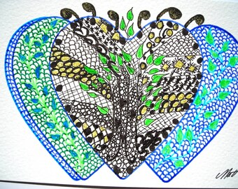 map postcard Zentangle and a decorated envelope. Markers and ink.