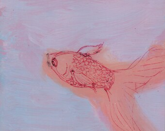 Peach Fishie on Lavender - original painting, small painting, one of a kind, affordable art, home decor - wantknot shop