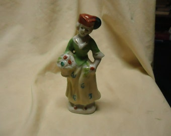 Vintage Porcelain Woman in Dress Holding Basket Figurine, made in Japan, collectable