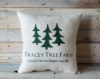 Personalized Christmas Pillow Cover, Tree FarmPillow, Farmhouse Pillow, Accent Pillow, Rustic Pillow, Decorative Pillow, Throw Pillow,  Gift