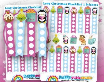 16 Cute Christmas Long Checklist/Festive/Holidays Planner Stickers, Filofax, Erin Condren, Happy Planner,  Kawaii, Cute Sticker, UK