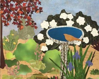 Summer Garden - paper collage art