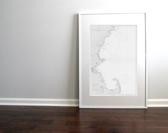 Cape Cod East Coast Massachusetts to Cape Elizabeth Maine Nautical Chart Map 1935 Grey DIGITAL PRINT 20 x 30, Map Art, Printable Art, Maps
