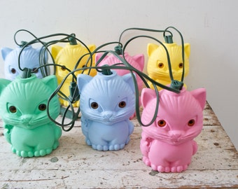 Light up Patio Camper RV Cat Lights String Vintage Blow Mold Kitty Cat Lights