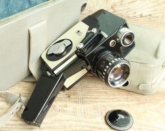 vintage cine camera vintage Movie Camera Old Vintage Soviet  Movie Camera Lada in case / Vintage Film Camera / Collectible Camera - Working