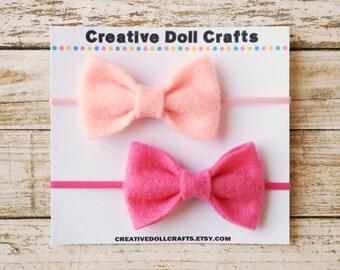 Pink Doll Bow, Doll Headband, Doll Hair Bow, AG Doll Bow, Doll Hair Accessory, Doll Bow, 18 Inch Doll, Doll Accessory, Doll Felt Bow
