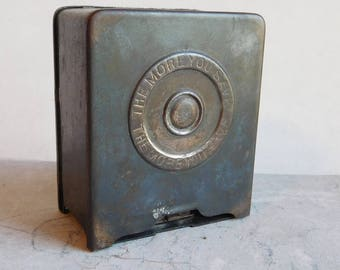 Antique Nutco Steel Safe Bank - Edwardian Era - Coin Still Bank - Chas Lee Russell - Has Key but Won't Stay Closed - Shabby, Distressed