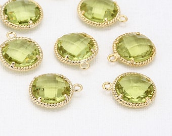 Apple Green Glass Round Pendant Polished Gold -Plated - 2 Pieces <G0038-PGAG>