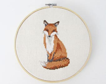 Fox cross stitch pattern - Woodland Animals - Modern cross stitch PDF - Instant download