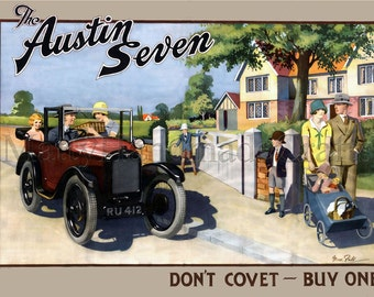 Austin Seven, British Car, 1930s Advertising Print