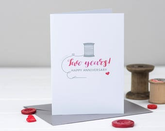 2nd Anniversary Card - Second Wedding Anniversary Card -  Cotton Anniversary - Anniversary Card -  2nd Anniversary