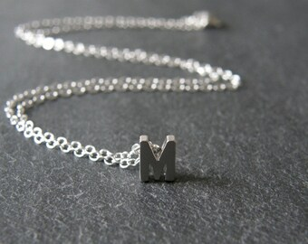 Silver Initial M Necklace, Silver Letter M Necklace, Personalized Initial Necklace, Simple, Modern, Everyday