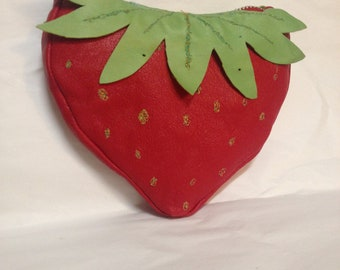 Strawberry purse with a Strawberry lining