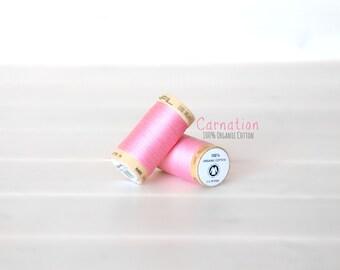Organic Cotton Thread GOTS - 300 Yards Wooden Spool  - Thread Color Carnation - No. 4809 - Eco Friendly Thread - 100% Organic Cotton Thread