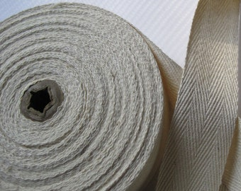 Natural Cotton Herringbone Twill Tape 1 Inch Wide Ribbon 5 yds 10 yds 15 yds.