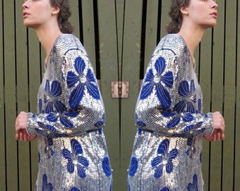 1980s Silk Sequin Dress Trophy Sequined Dress Blue and Silver Dress 20s Style Flapper Dress Cocktail Party Long Sleeve Midi Beaded Dress M