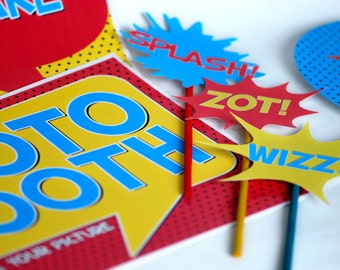 Superhero Photo Booth Props and Signs Instant Download Printable DIY