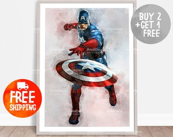 Captain America Poster, Captain A Print, Avenger Print, Wall Hanging, Watercolor Painting Effect, Nursery Print, Kid Poster, C223