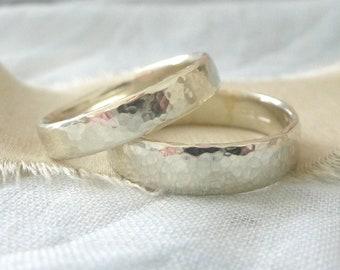 9ct White Gold Wedding Band - Hammered Wedding Band - 9ct White Gold Wedding Band - 4mm