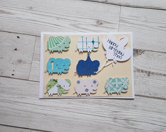 Personalised birthday card, new baby card, unisex card, 3D elephants, homemade greetings card, birthday boy and girl, first birthday, animal