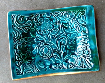 Ceramic Trinket  Dish Soap Dish jewelry dish edged in gold Dark Malachite GREEN