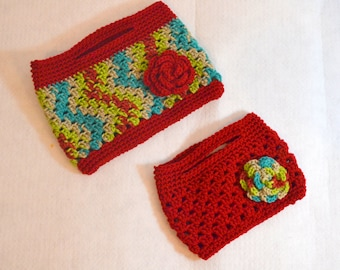Mommy and Me Crochet Purse Set, Granny Crochet Clutch, Childs Red Purse, Ladies Crochet Rose Bag