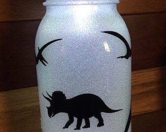 Dinosaur, mason jar, glittered, night light, t-rex, land before time