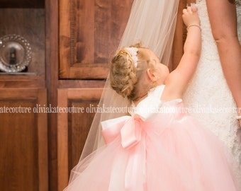 Flower Girl Dress, Floor Length, Blush Pink, Girls Dress