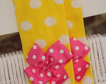 Baby Girl Leg Warmers -- yellow polka dot bow leg warmers-- Wonderful Baby Shower gift -- yellow and hot pink