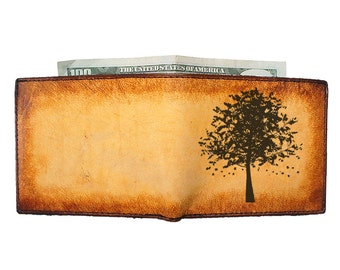 Personalized Wallet - Mens Leather Wallet - Groomsmen Gift - Autumn Tree