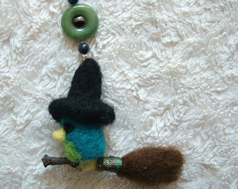 Needle Felted Witch on a Broomstick Thimble Bird, Handmade Felted Bird