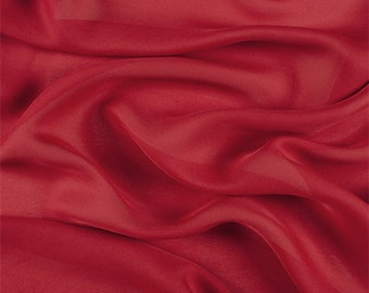 Dark Red Silk Double Georgette, Fabric By The Yard