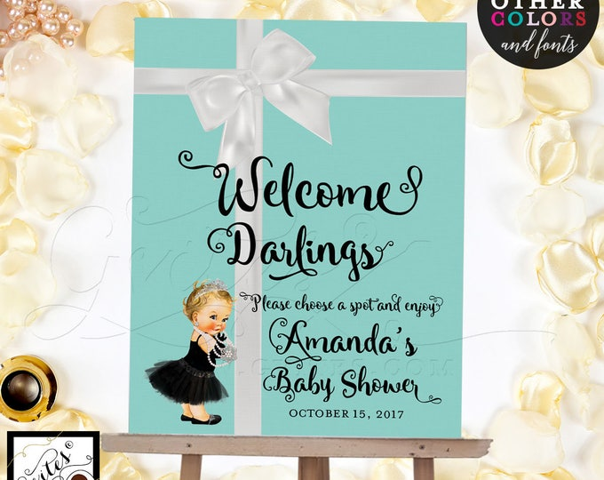 Welcome Signs Baby Shower Baby and Co poster, banner, signs. Breakfast at signs, customizable text and colors {Realistic Satin Ribbon}