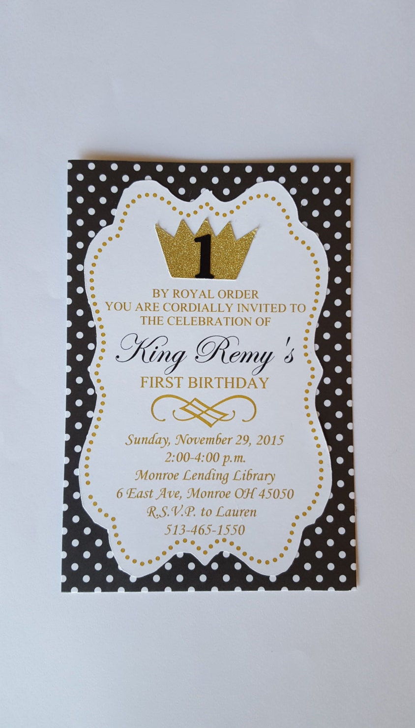 Crown Invitation 12 King for a Day Invitation First