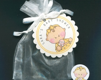 40 Personalized Baby Girl Baby Shower Favor Bags, Favor Tags, Candy Stickers With White Organza Bags, Baby Girl in Yellow Outfit