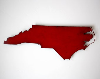 "24"" wide North Carolina metal map wall art - choose your color - NC map wall decor - USA state map - NC art - raleigh charlotte winston maps"