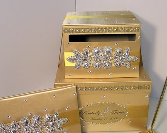 Wedding  Card Box, 4 Sets, 2 tier Gold Card Box,Guest book and Pen/Pen Holder.Gift Money Box -Customize your color